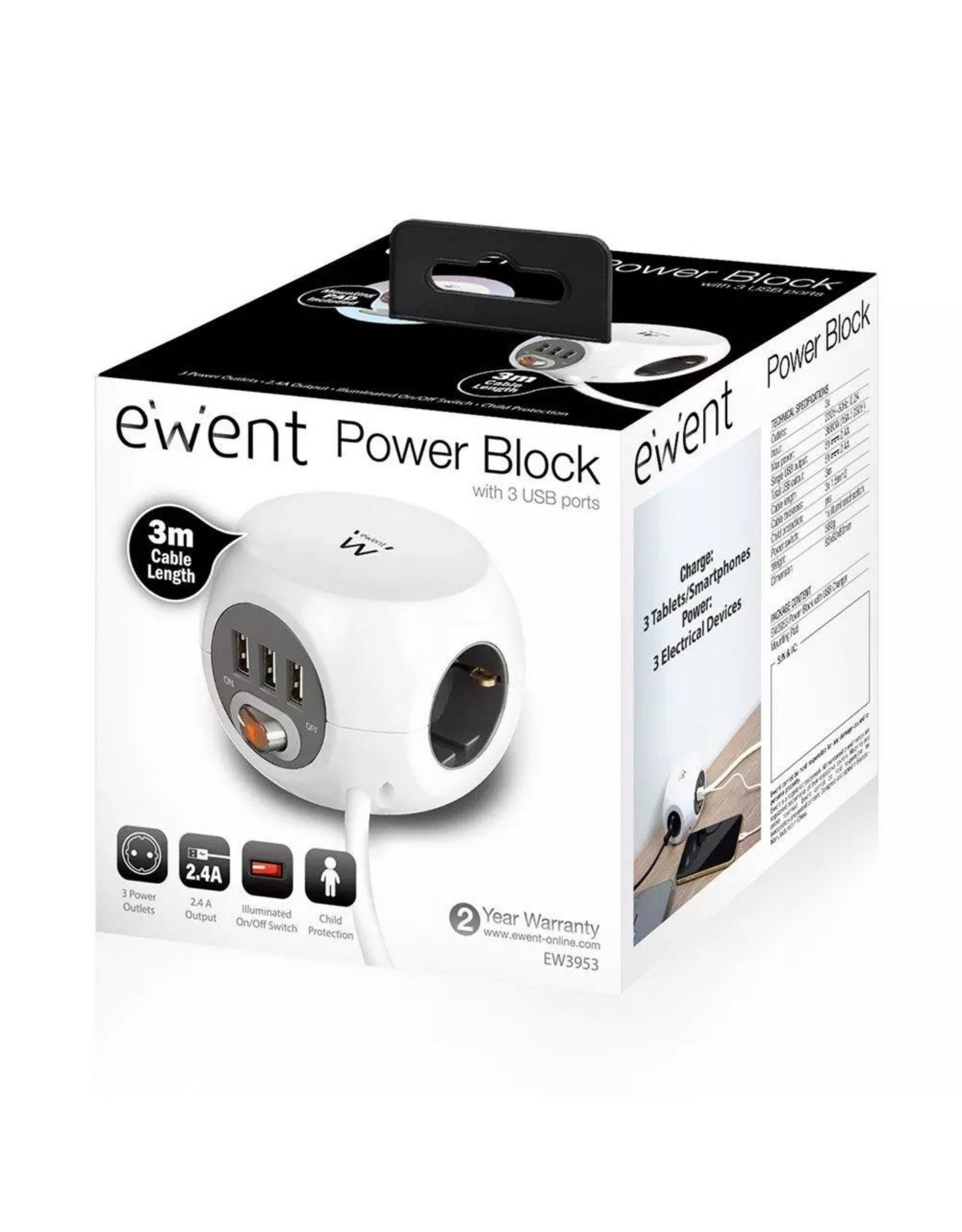 Ewent Power block 3 USB charging ports