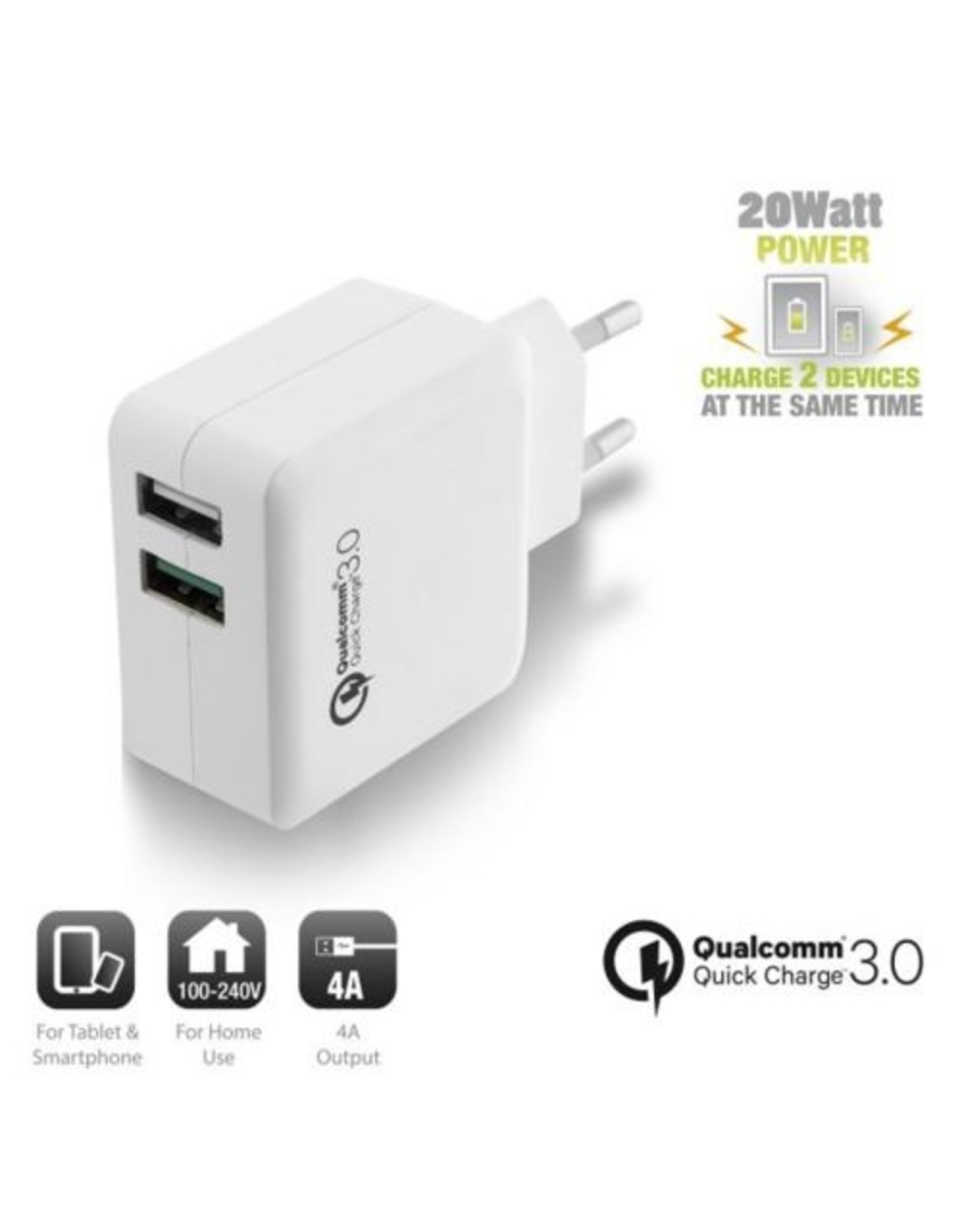 Ewent USB Charger 110-240V 2 port  & Quickcharge Qualcomm 4A
