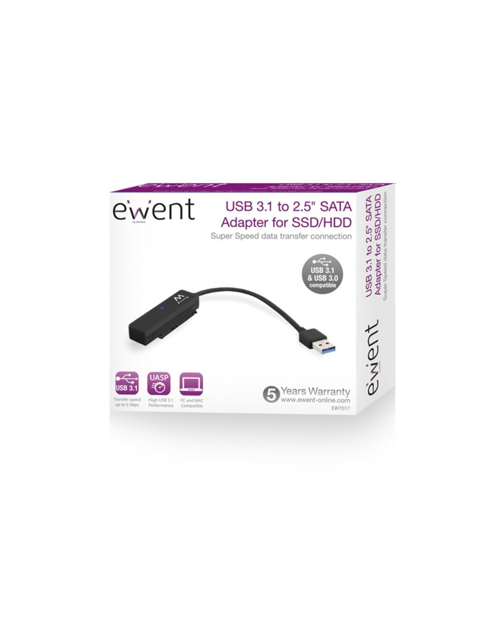 """Ewent USB 3.0 to 2.5"""" SATA Adapter Cable for SSD / HDD"""