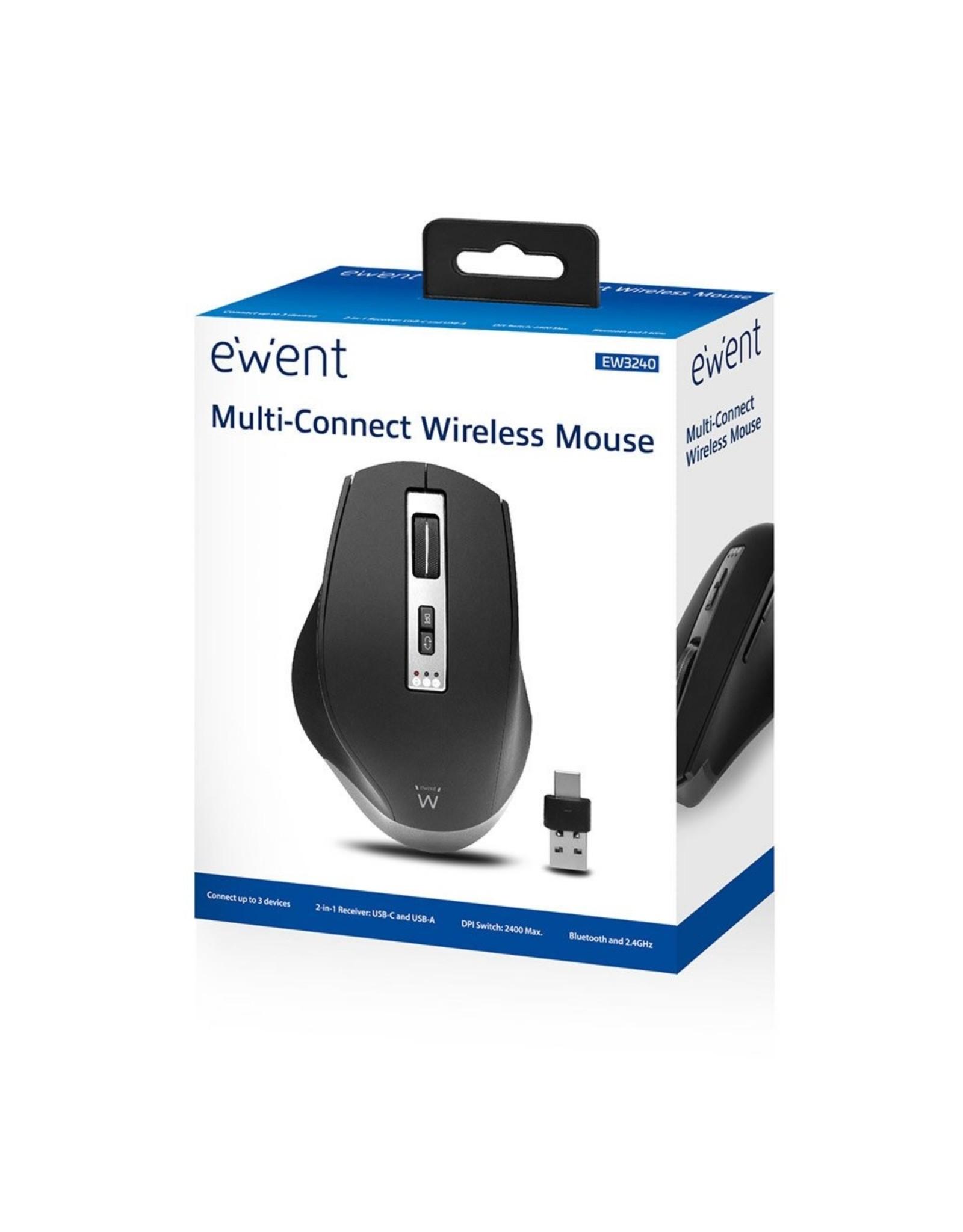 Ewent Draadloze multi-connect muis, 600 tot 2400 dpi, zwa