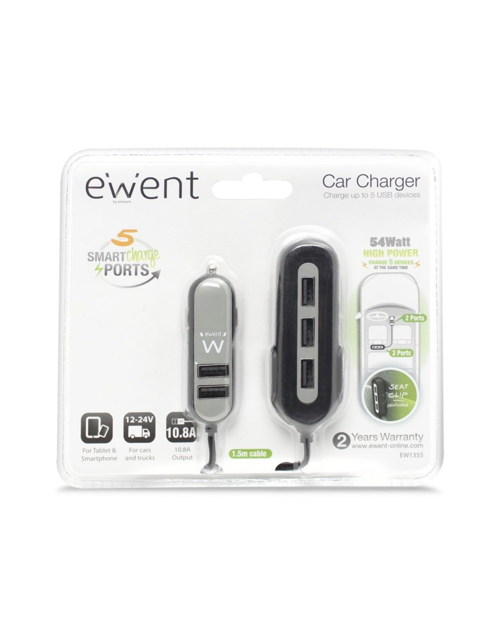 Ewent USB Car Charger two + three port 10.8A