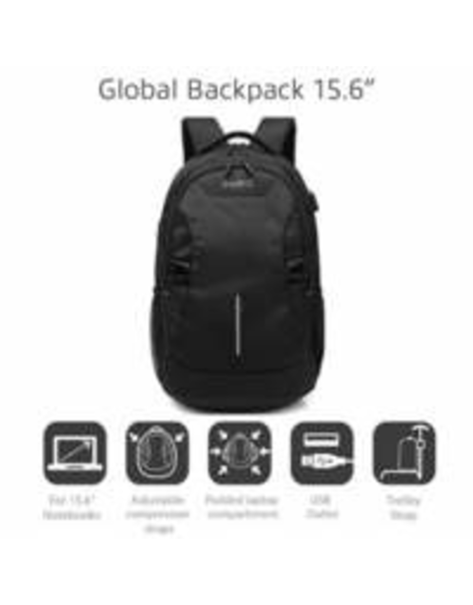 Ewent Global Notebook Backpack 15,6, BLACK with USB connecti