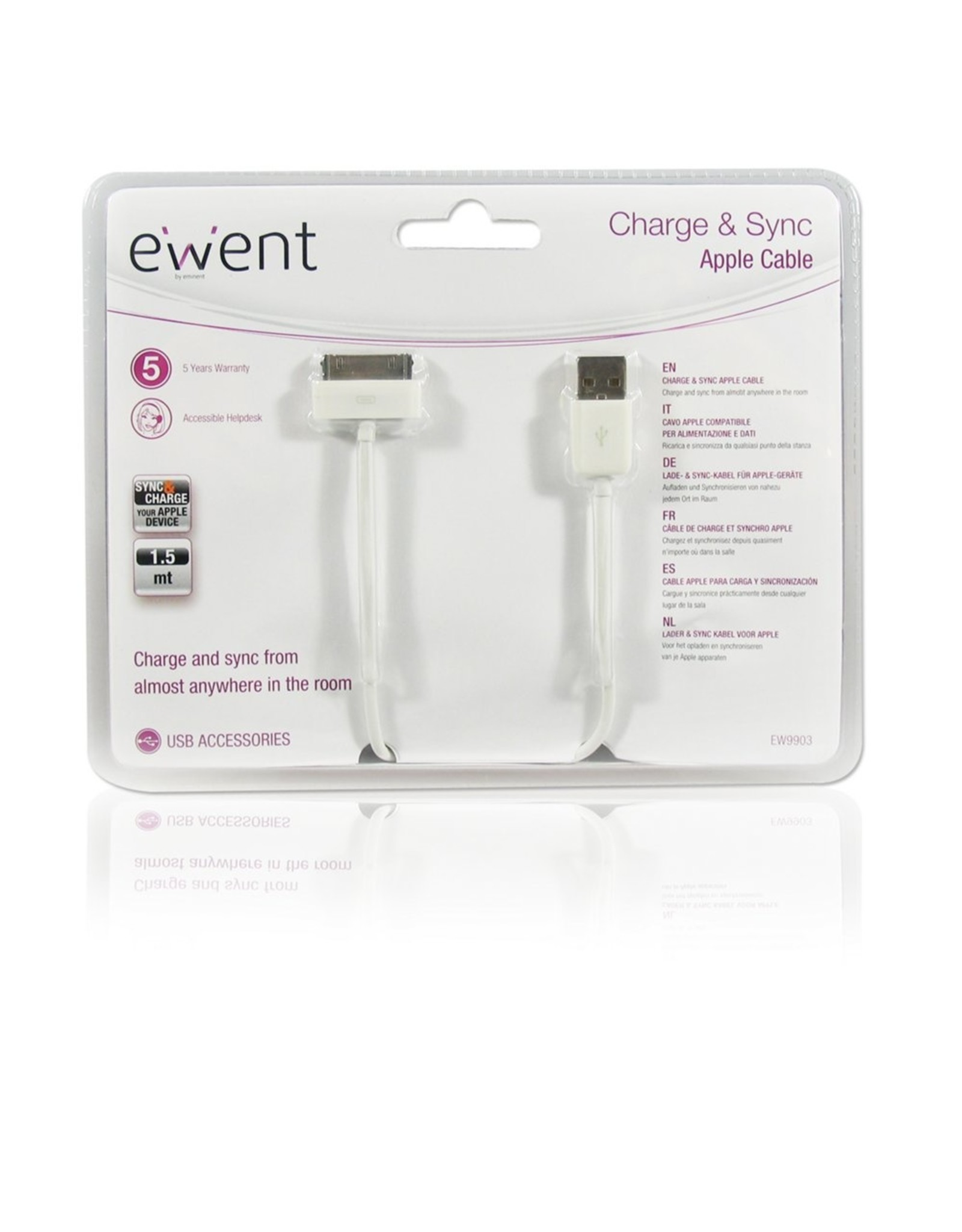 Ewent USB2.0 to Apple 30 pin cable,OD 3.5 Length 1.5M, white