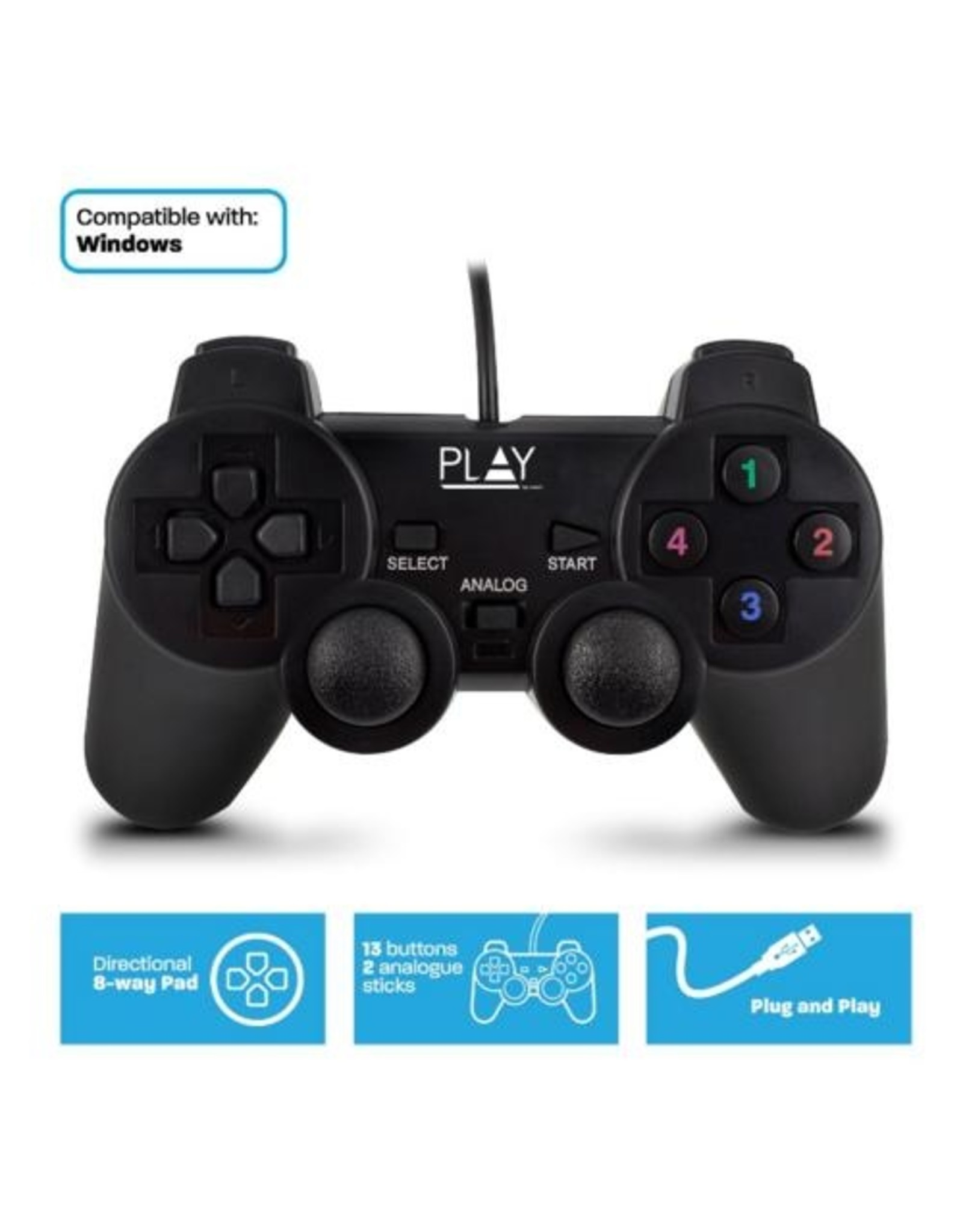 Ewent Play Gaming Wired USB Gamepad for PC