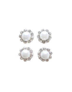 Curlies parel met strass steentjes rondom 4 stuks