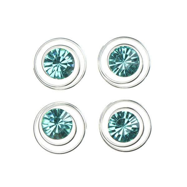 Curlies met facetsteen in de kleur blauw 4 stuks