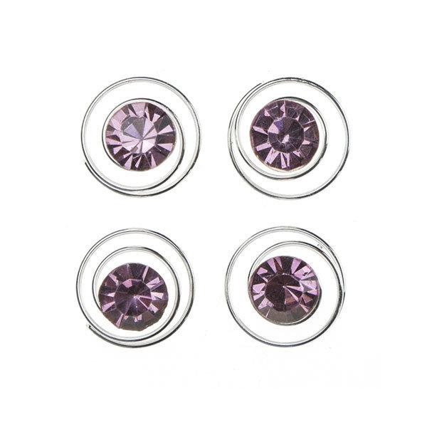 Curlies met facetsteen in de kleur paars 4 stuks