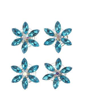 Curlies bloem strass blauw 4 stuks
