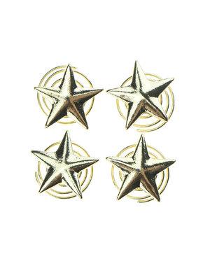 Curlies met ster in de kleur goudkleurig 4 stuks