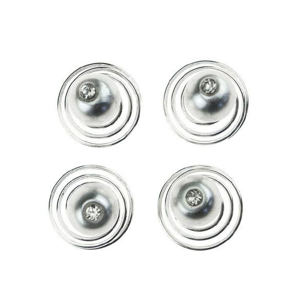 Curlies met parel zilverkleurig facet 4 stuks