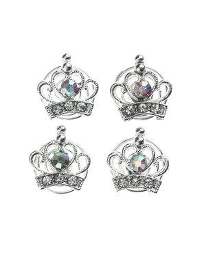 Curlies zilverkleurig kroon facet 4 stuks