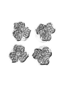 Goudhaartje Curlies zilverkleurig bloem drie bladeren 4 stuks