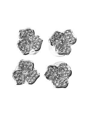Curlies zilverkleurig bloem drie bladeren 4 stuks