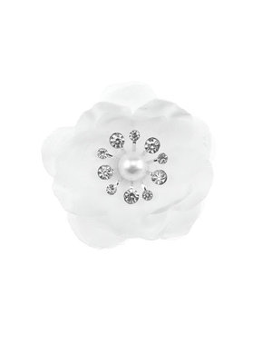 Curlie klaproos met strass steentjes wit