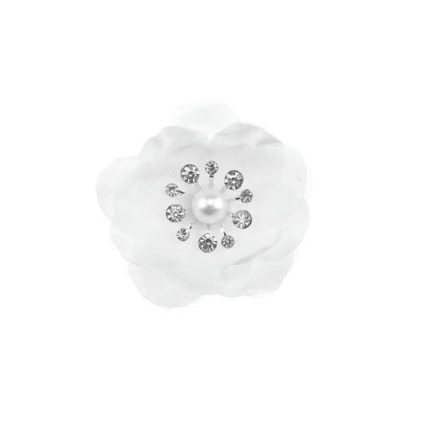 Goudhaartje Curlie klaproos met strass steentjes wit