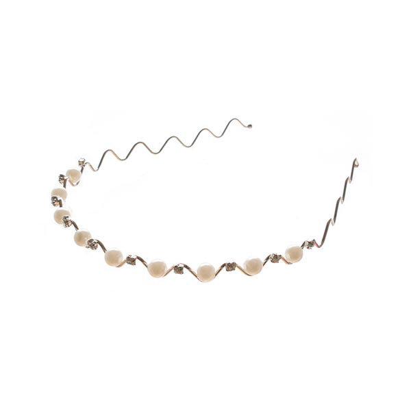 Goudhaartje Diadeem met parels en strass steentjes zilverkleurig
