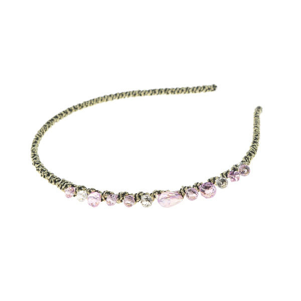 Diadeem elegant roze stenen goudkleurig