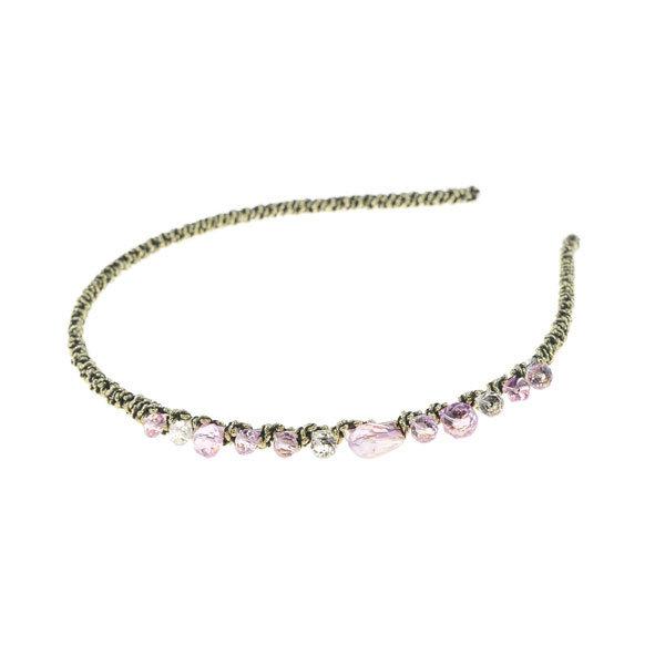Goudhaartje Diadeem elegant roze stenen goudkleurig