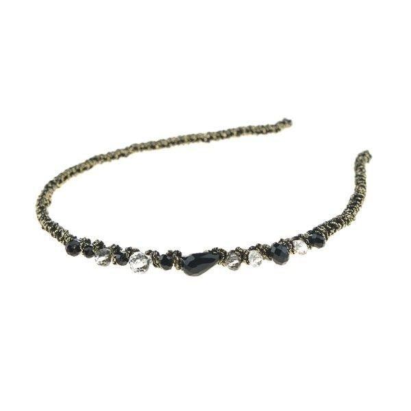 Goudhaartje Diadeem elegant zwarte stenen goudkleurig