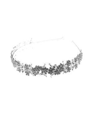 Diadeem zilverkleurig sierlijke bloemen
