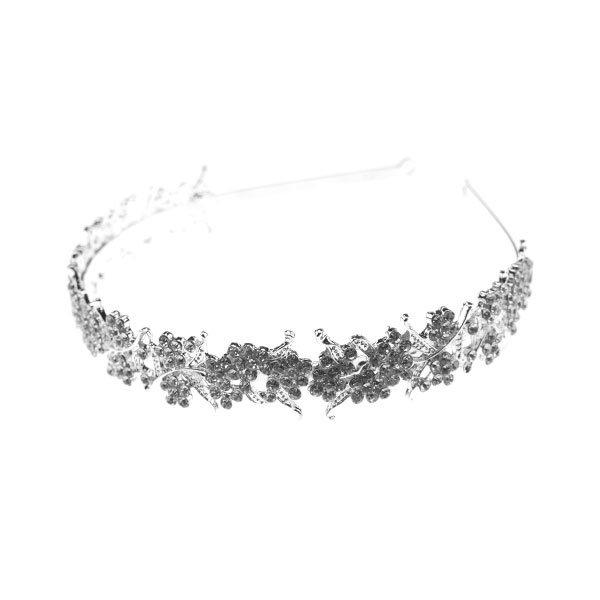 Goudhaartje Diadeem zilverkleurig sierlijke bloemen