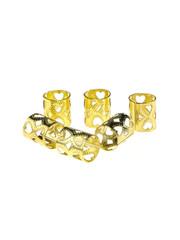 Goudhaartje Dreadlock bead cuff 6 stuks hartjes goudkleurig