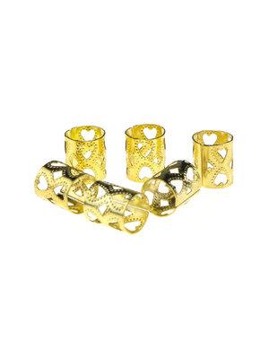 Dreadlock bead cuff 6 stuks hartjes goudkleurig