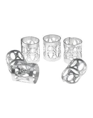 Dreadlock bead cuff 6 stuks zilverkleurig