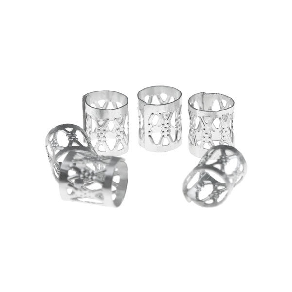 Goudhaartje Dreadlock bead cuff 6 stuks zilverkleurig