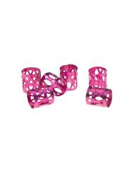 Goudhaartje Dreadlock bead cuff 6 stuks roze