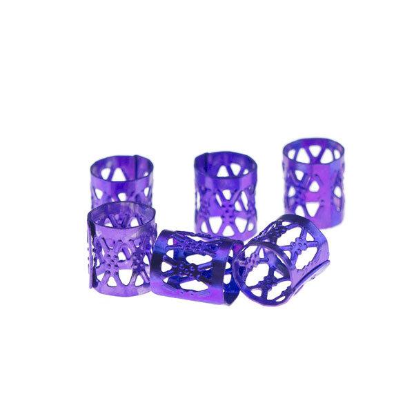 Dreadlock bead cuff 6 stuks paars