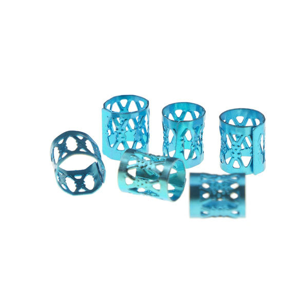 Dreadlock bead cuff 6 stuks blauw