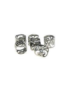 Goudhaartje Dreadlock bead cuff 6 stuks symbols metaalkleurig