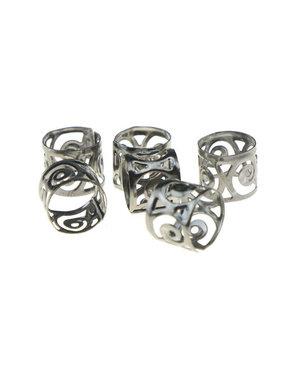 Dreadlock bead cuff 6 stuks symbols metaalkleurig