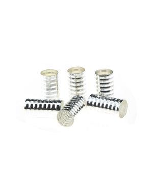 Dreadlock bead cuff 6 stuks spiraal  zilverkleurig