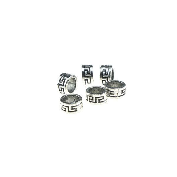 Goudhaartje Dreadlock bead 6 stuks tribal zilverkleurig
