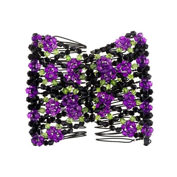 Goudhaartje EZ comb met kralen en bloemen strass paars