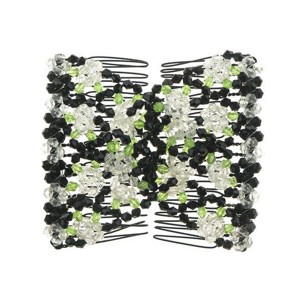 EZ comb met kralen en bloemen strass transparant