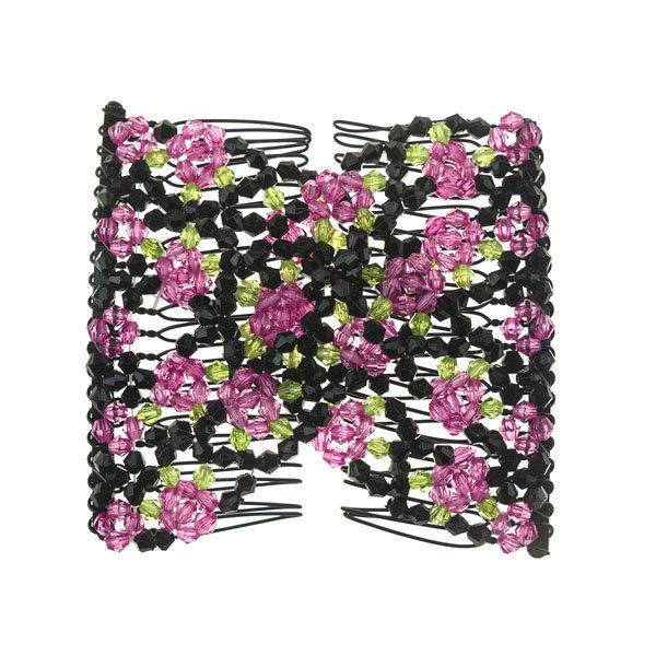 EZ comb met kralen en bloemen strass fuchsia