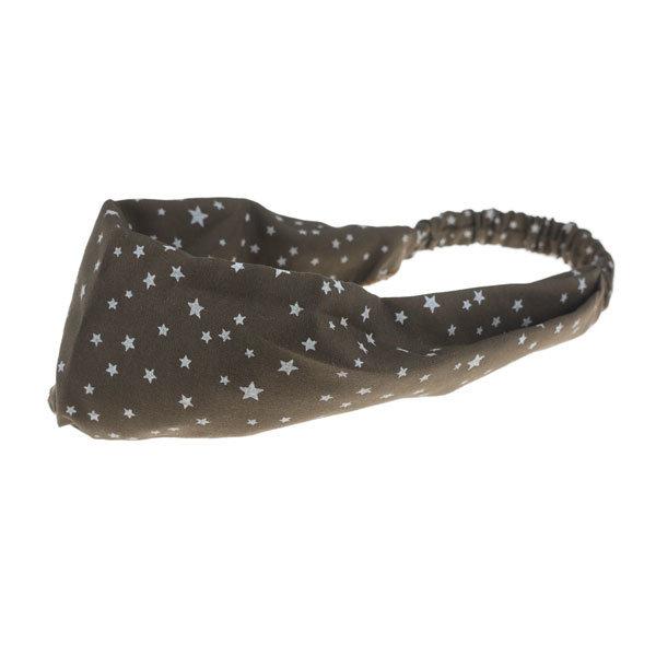 Haarband elastisch met sterren bruin