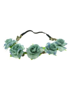 Haarband rozen gevlochten groen blauw