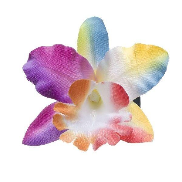Goudhaartje Orchidee haarbloem kleur op alligator knipje