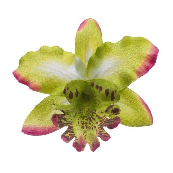 Orchidee haarbloem groen op alligator knipje