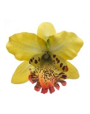 Orchidee haarbloem geel op alligator knipje