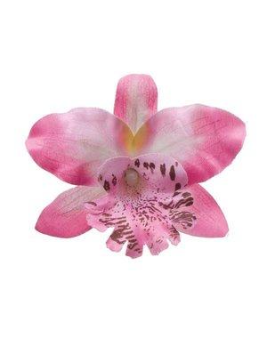 Orchidee haarbloem lichtroze op alligator knipje