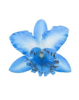 Orchidee haarbloem blauw op alligator knipje