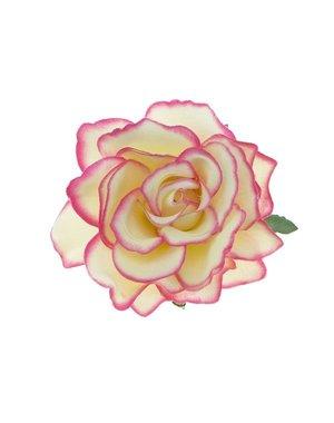 Haarbloem roos L kleur crème fuchsia randje