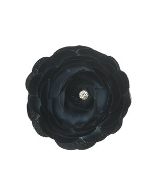 Haarbloem trosroos zwart op alligator knipje