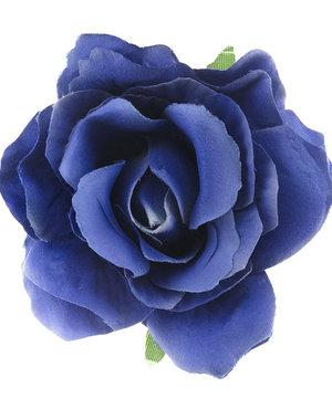 Haarbloem roos blauw op alligator knipje