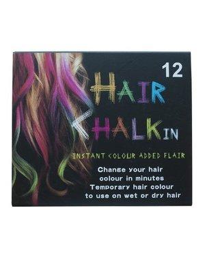 Haarkrijt in doosje meerdere kleuren 12 stuks